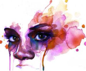 watercolor, art, and face image