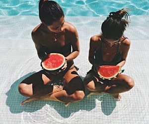summer, watermelon, and friends image