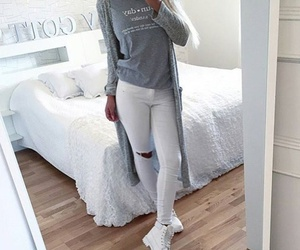 grey, outfit, and white image