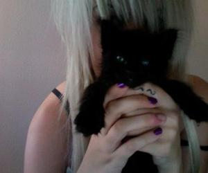 baby, black kitten, and blonde hair image