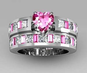 wedding ring set, bridal ring set, and pink sapphire ring set image
