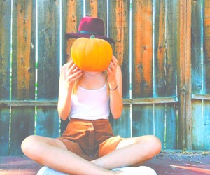 girl, fall, and pumpkin image
