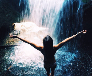 waterfall, girl, and paradise image