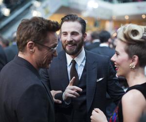 chris evans, robert downey jr, and Scarlett Johansson image