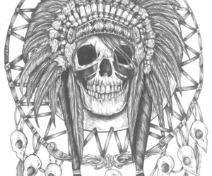 skull, tattoo, and feather headdess image
