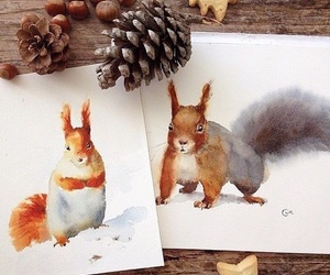 art, autumn, and chipmunk image