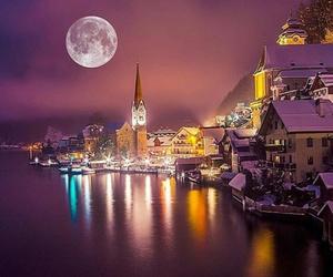 austria, full moon, and hallstatt image