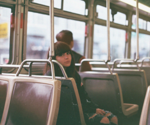 bus, girl, and photography image