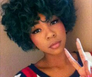 Afro, black girl, and blue hair image