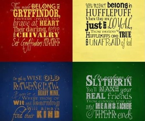 gryffindor, slytherin, and hufflepuff image