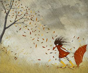 autumn, girl, and wind image