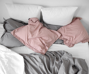 bed, pink, and grey image