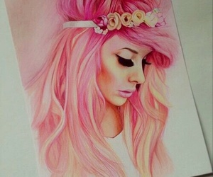 pink, draw, and girl image