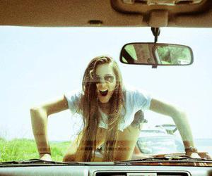 girl, car, and crazy image