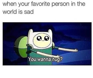 hug, sad, and adventure time image
