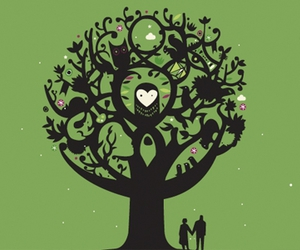 heart, tree, and owl image