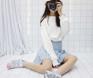 fashion, korean, and blue image