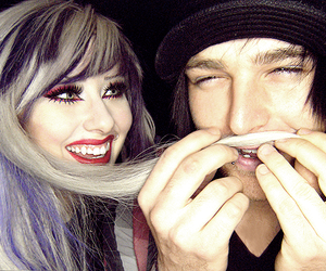 blonde hair, Piercings, and couple image