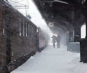 snow, train, and vintage image