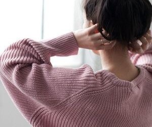 girl, sweater, and pink image
