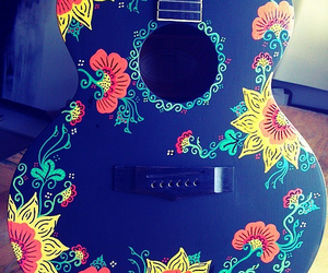 flower, instrument, and painted guitar! image