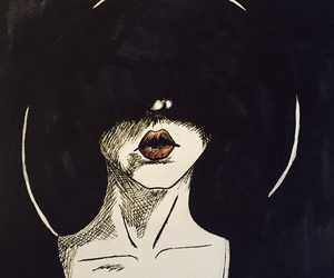 drawing and woman in black image