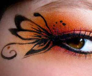 makeup, butterfly, and eye image