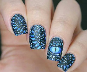 nails, blue, and dragon image