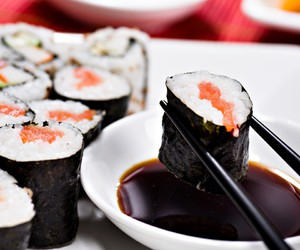 food, sushi, and soy sauce image