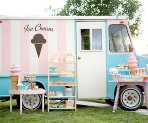 ice cream, pink, and car image