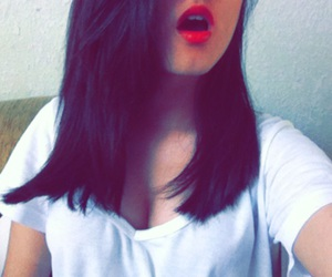 lips, red lips, and short hair image