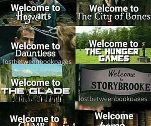 harry potter, hunger games, and percy jackson image