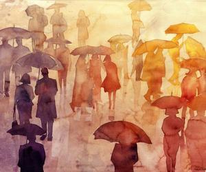 umbrella, art, and rain image