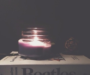 b&w, book, and candle image
