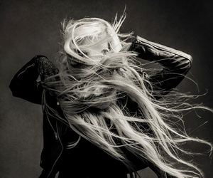 black and white, blonde, and long image