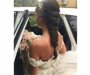bouquet, bride, and dress image