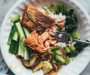 food, rice, and salmon image