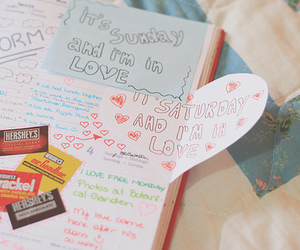 love, diary, and heart image