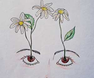 eyes, draw, and flowers image