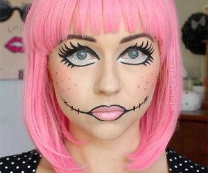 Halloween, halloween make up, and halloween doll make up image