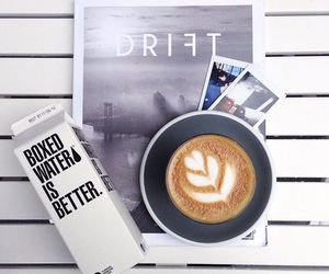 coffee, boxed water, and white image