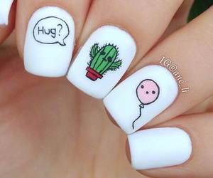 nails, manicure, and cactus image