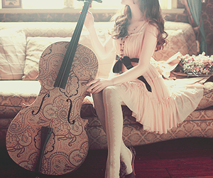 girl, music, and dress image