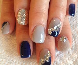 nails, blue, and autumn image