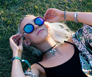 blonde, blue, and choker image