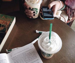 book, cellphone, and coffee image