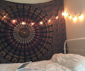 bedroom, boho, and lights image