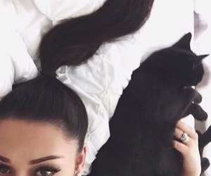 girl, beauty, and cat image