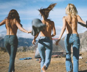 girl, jeans, and friends image