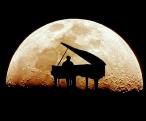 piano, moon, and music image